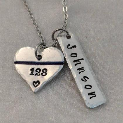 Thin Blue Line Hand Stamped Necklac..