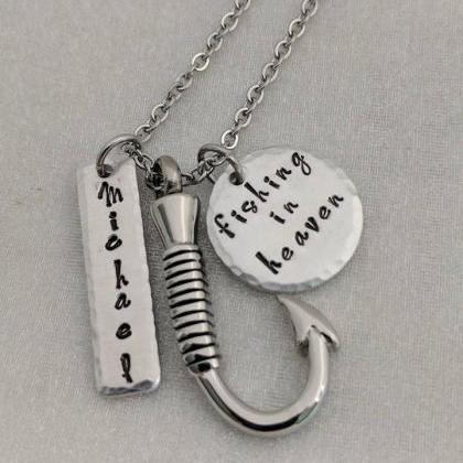 Hand Stamped Necklace Fishing In He..