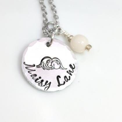 Hand Stamped Necklace Angel Baby- L..