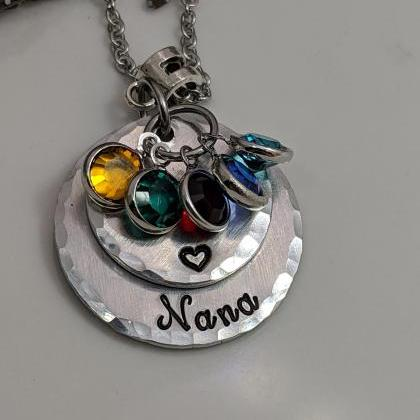 Hand Stamped Birthstone Necklace-Na..