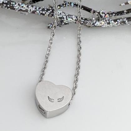 Hand Stamped Silver Heart Necklace ..