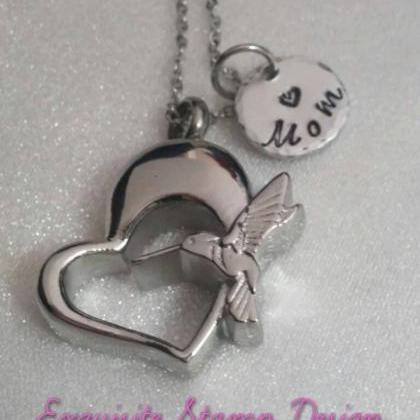 Hand Stamped Hummingbird Necklace -..