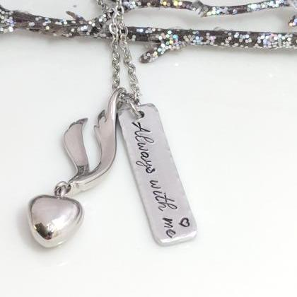 Hand Stamped Necklace Always With M..