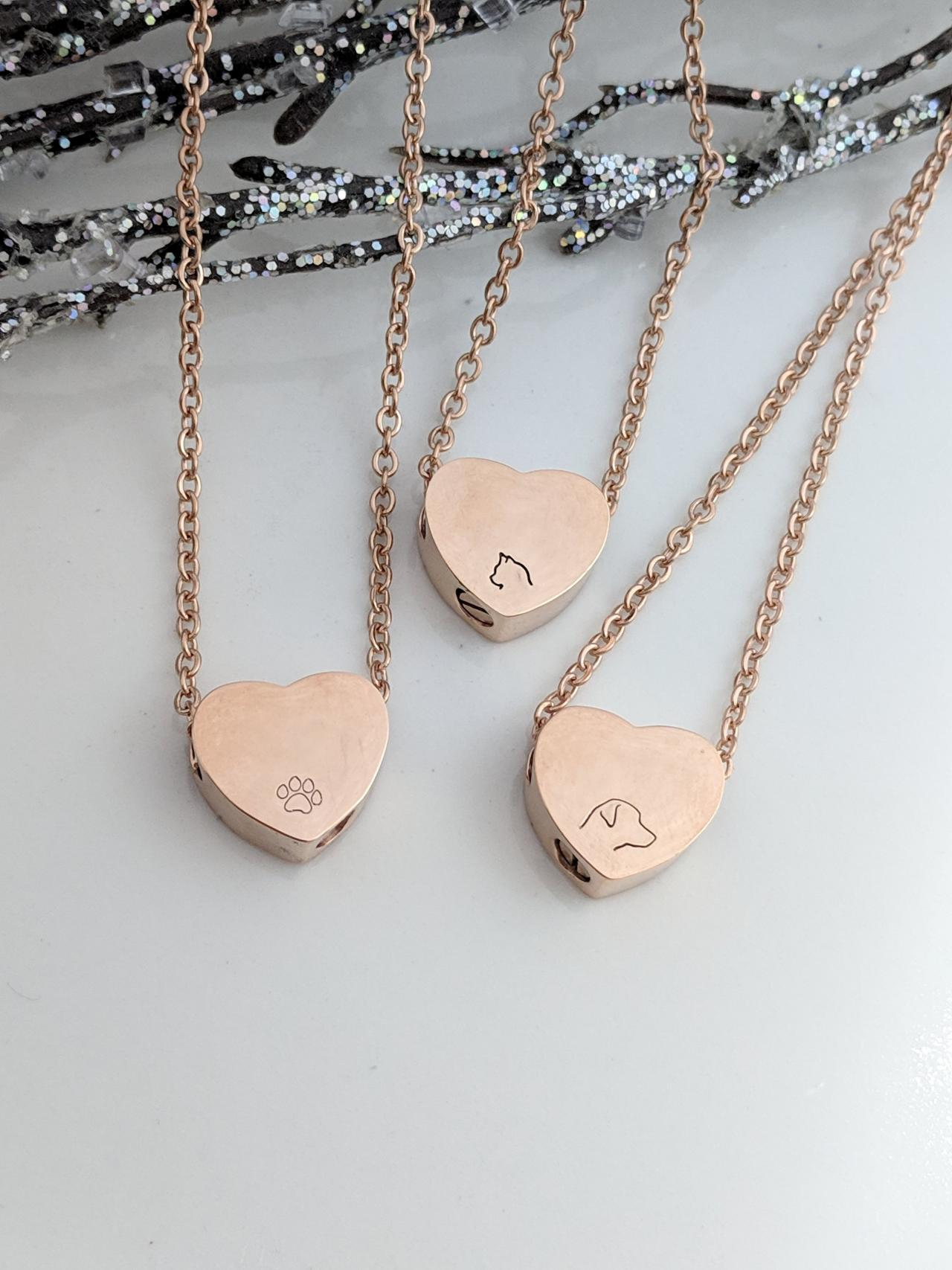 Rose Gold Heart Urn - Pet Loss - Dog Loss -Cat Loss -Pawprint -Pet Ash Holder - Pet Keepsake -Urn for Ashes -Memorial Jewelry -Urn Necklace
