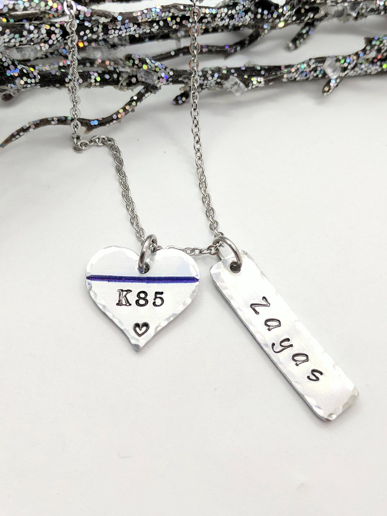 Thin Blue Line Hand Stamped Necklace - Personalized Police Necklace Jewelry - Back The Blue - Gift for Police Wife - Gift for Police Mom - Police Badge Jewelry