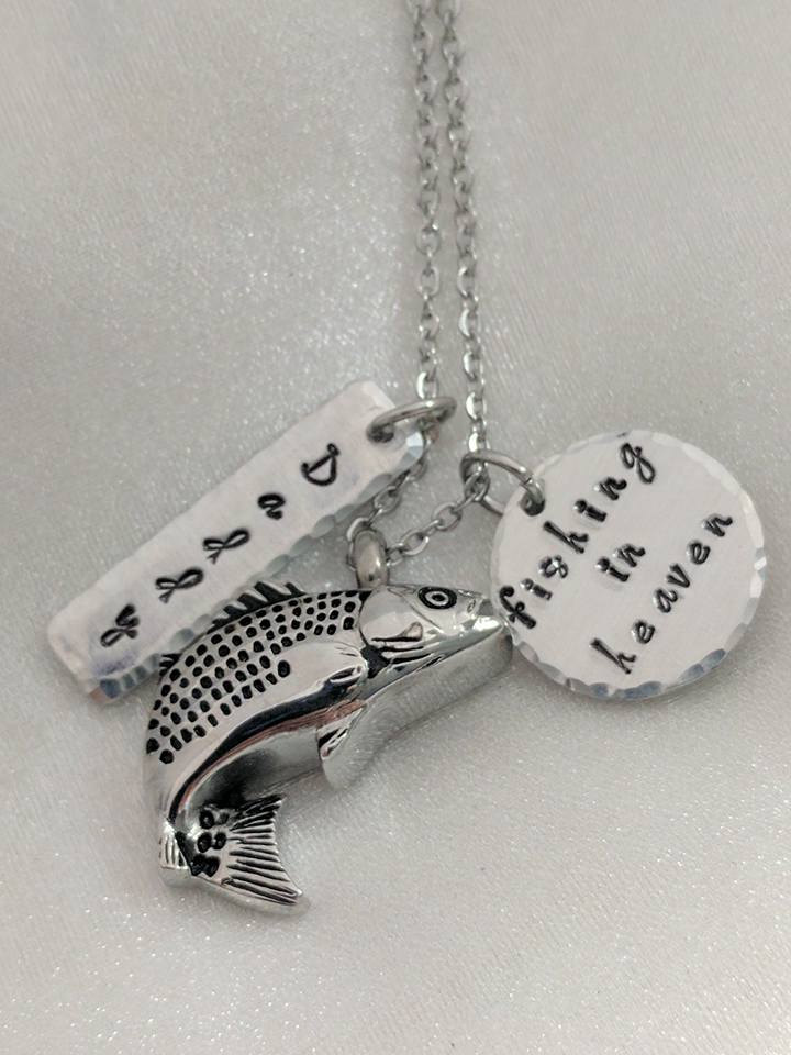 Hand Stamped Necklace Fishing In Heaven - Fish Urn - Urn for Ashes - Personalized Memorial - Sympathy Gift - Remembrance Jewelry - Memorial Keepsake - Grief Gift