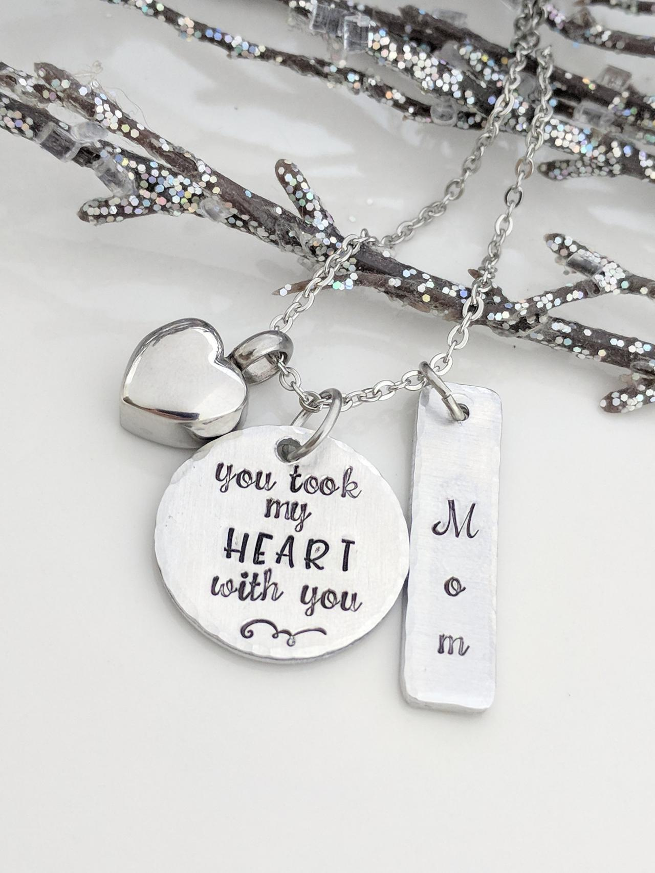 Hand Stamped Necklace You Took My Heart With You-Urn Necklace-Cremation Hand Stamped Jewelry-Ashes Necklace-Ashes Keepsake-Urn Jewelry-Memorial Jewelry-Loss of Mom-Loss of Dad