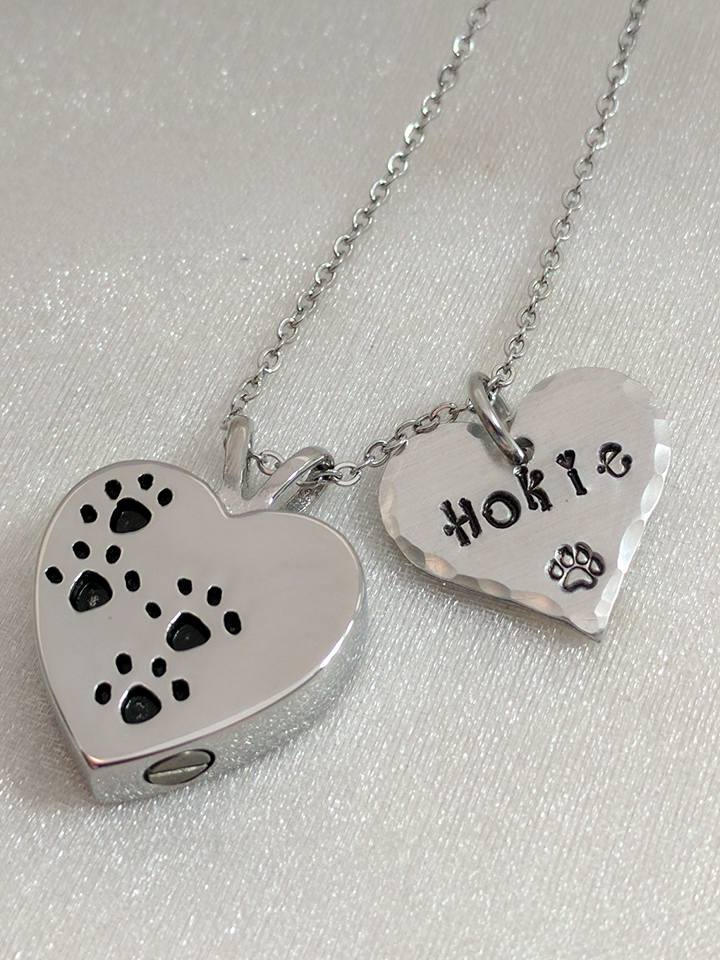 Hand Stamped NecklacePet Loss Gift - Hand Stamped Jewelry -Pet Memorial - Sympathy Gift- Personalized Pet Urn - Pet Remembrance Necklace - Pet Urn - Paw Print Urn - Loss of Pet Gift