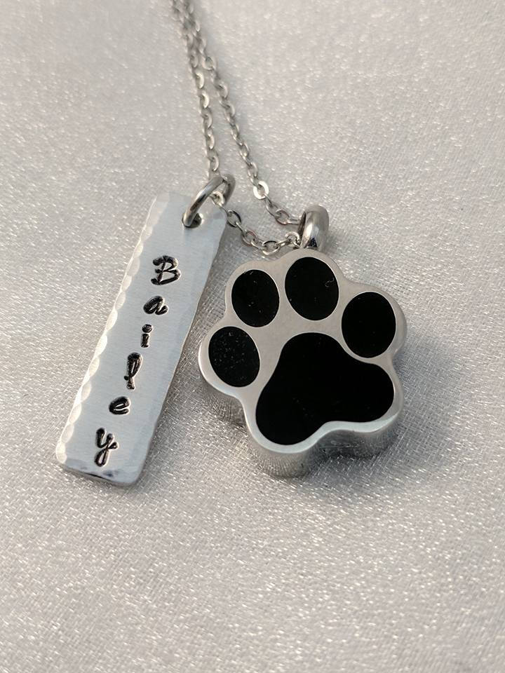 Hand Stamped Necklace Pet Loss Memorial - Urn for Pet Ashes - Cremation Hand Stamped Jewelry - Loss of Dog - Loss of Pet - Pet Memorial Keepsake - Customized Pet Name Jewelry