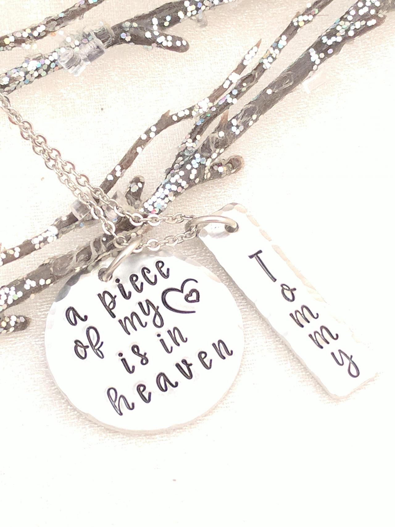 Memorial Jewelry-A Piece of my Heart is in Heaven-Personalized Memorial-Remembrance Keepsake Necklace-In Memory Of-Loss of Mother-Grief Gift