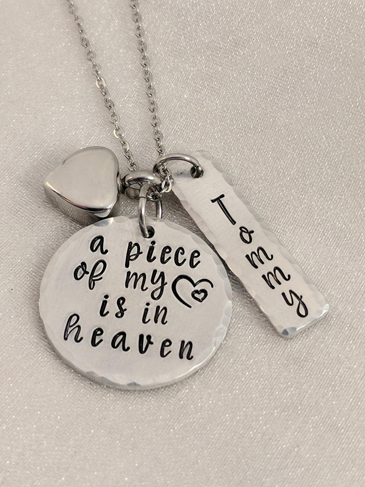 urn necklace-cremation jewelry-ashes necklace-a piece of my heart is in heaven-urn jewelry-cremation necklace-personalized urn-heart urn
