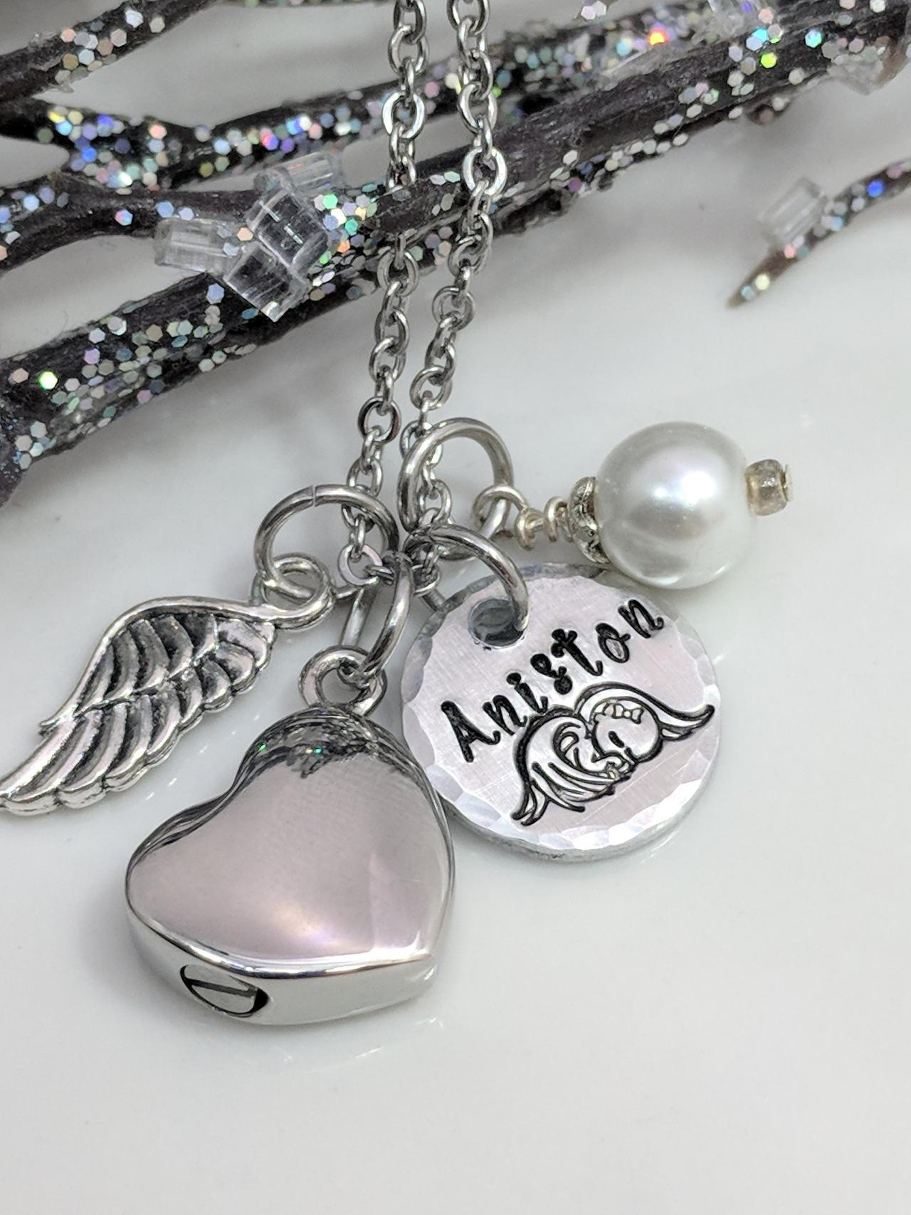 Hand Stamped Necklace Loss of Baby-Loss of Child-Infant Loss-Urn Jewelry-Customized Urn-Heart Urn-Angel Baby-Mother of an Angel-Cremation Urn-Stillborn Gift