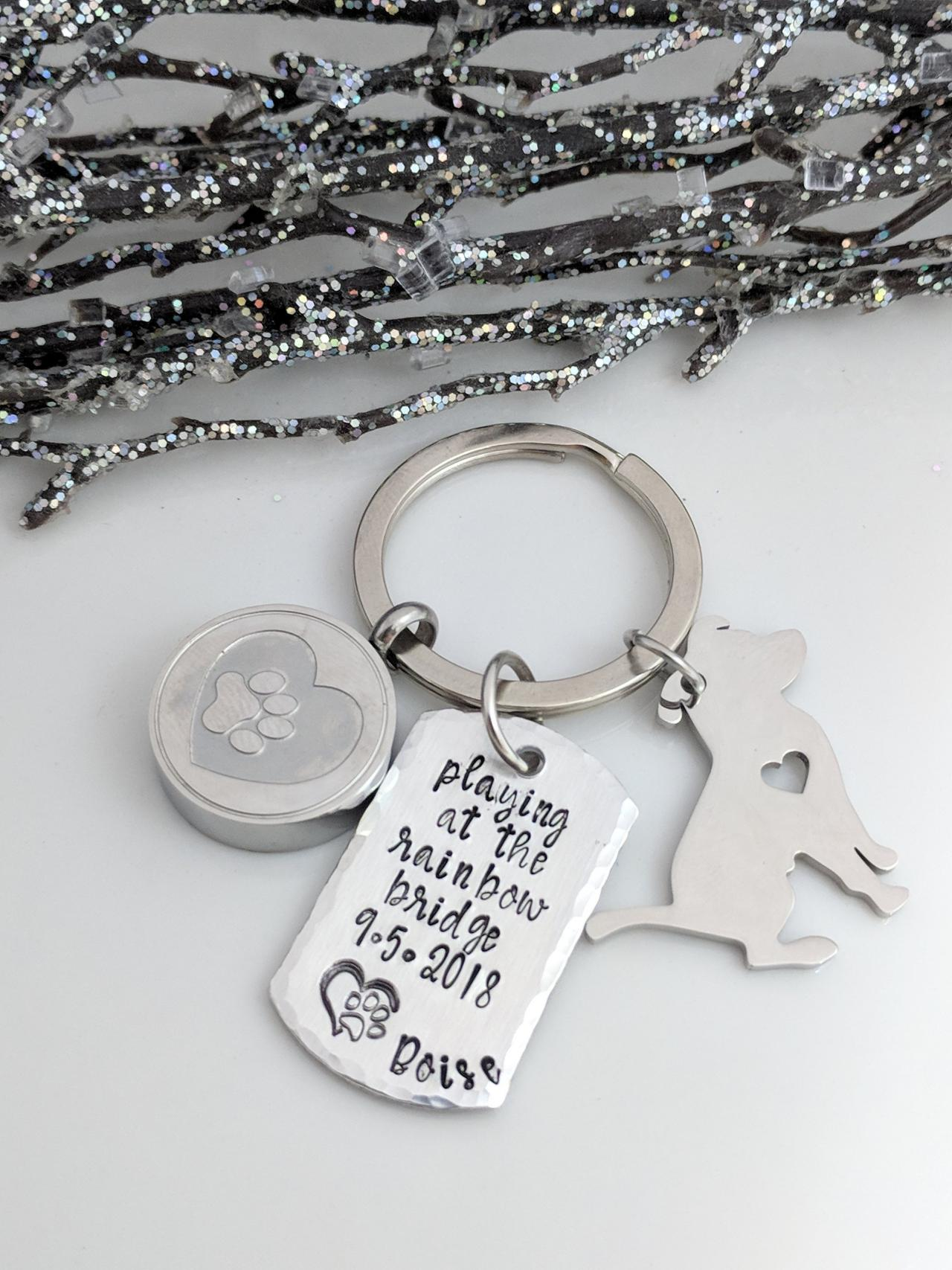 Hand stamped keychain-Playing at the Rainbow Bridge- Pet Memorial- Dog Ashes Holder- Dog Paw Urn- Personalized- Pet Loss Keychain- Pet Loss Gifts- Loss of Dog