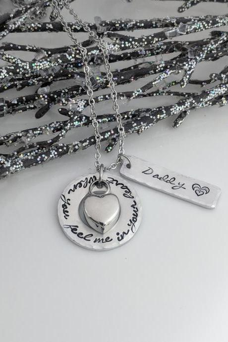 Urn Necklace- Cremation Jewelry- Keepsake- Memorial- Loss of Loved One- Human Ashes Urn- When You Feel Me In Your Heart- Personalized-Grief