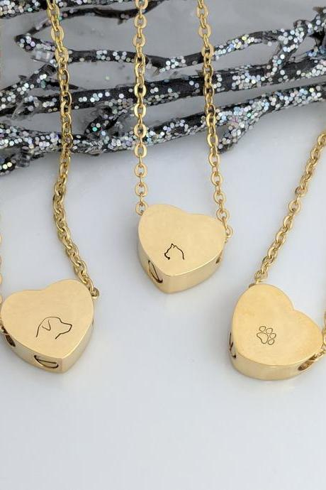 Gold Heart Urn Hand Stamped Necklace - Pet Loss Hand stamped keepsake necklace - Dog Loss - Cat Loss - Pawprint - Pet Ash Holder - Hand Stamped Jewelry - Urn for Ashes - Memorial Jewelry - Necklace