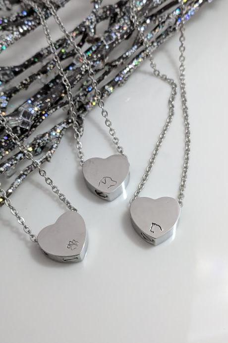 Silver Heart Urn Hand Stamped Necklace - Pet Loss - Dog Loss -Cat Loss -Pawprint -Pet Ash Holder - Pet Keepsake Hand stamped necklace -Hand Stamped Jewelry - Urn for Ashes -Memorial Jewelry -Urn Necklace