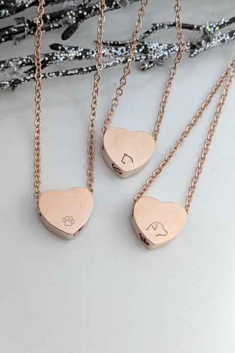 Rose Gold Heart Urn Hand Stamped Necklace - Pet Loss - Dog Loss -Cat Loss -Hand Stamped Jewelry - Pawprint -Pet Ash Holder - Pet Keepsake -Urn for Ashes -Memorial Jewelry -Urn Necklace