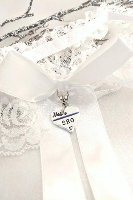 Hand Stamped Police Wedding Garter-Thin Blue Line-Police Garter-Police Wife To Be-Officer Wedding Garter-Personalized-Badge Number Garter-Bouquet Charm