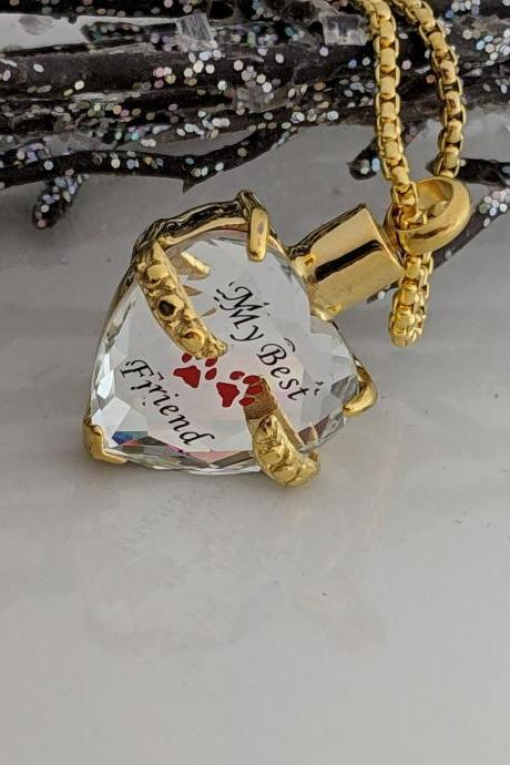 Ready to Ship - Hand Stamped Necklace Gold Heart Pet Urn - Pet Ash Holder - Hand stamped keepsake. Jewelry - My Best Friend - Paw Print - Cremation Urn - Pet Loss - Gold Stainless Steel