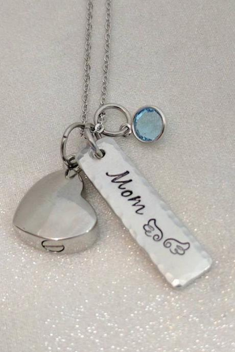 Hand Stamped Necklace, Memorial Urn Necklace- Hand Stamped Jewelry Ashes Necklace- Urn for Ashes-Remembrance Keepsake-Cremation Urn-Urn Necklace-Sympathy Gift- Loss of Mom-Personalized