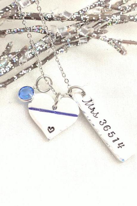 Hand Stamped Necklace, Valentine's Day Gift for Police Wife-Christmas Gift for Police Mom-Thin Blue Line Necklace-Personalized Police Necklace-Police Badge Jewelry