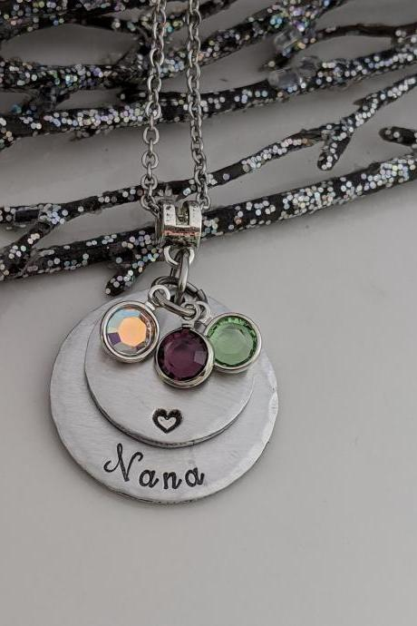 Grandmother Necklace - Birthstone Jewelry - Gift for Nana - Grammy - Mom - Mother's Day - Valentine's Day - Charm Necklace - Customized