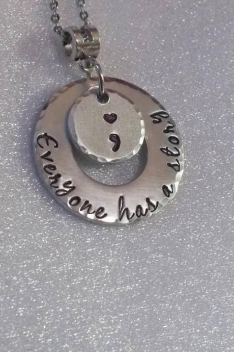 Everyone Has A Story Necklace - Awareness Necklace - Semi Colon Necklace - Depression Awareness - Addiction Awareness - Recovery Necklace