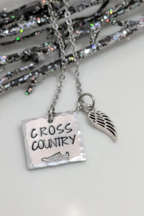 Hand Stamped Necklace Cross Country Runners - Hand Stamped Jewelry - Cross Country Gifts - XC Team - Sole Sister - Team Gifts - Coach - Run Race - High School Sports - College Sports