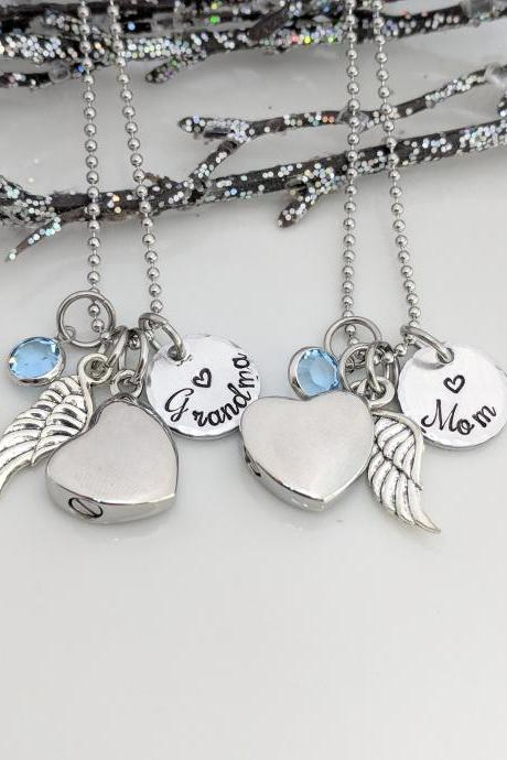 Hand Stamped Necklace In Memory Of - Hand Stamped Jewelry Memorial Keepsake - Keepsake Jewelry - Wing Charm - Ash Jewelry - Urn Necklace - Urn for Ashes - Personalized - Hand Stamped