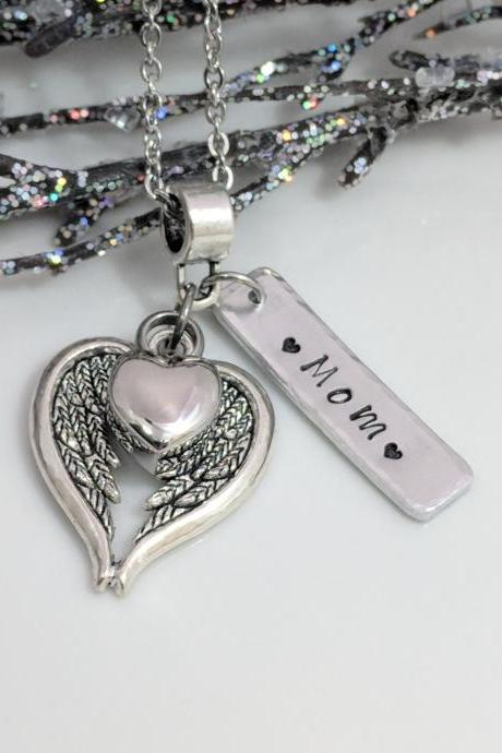 Hand Stamped Angel Wing Necklace - Heart Urn Pendant - Personalized Ash Jewelry - Ashes Locket - Cremation Urn Necklace - Sympathy Gift - Urn for Ashes