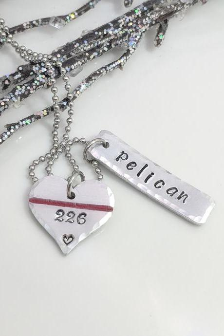 Hand Stamped Thin Red Line Necklace- Hand Stamped Jewelry - Personalized Fireman Necklace-Gift for Fireman Wife-Gift for Fireman Mom-Firefighter Badge Jewelry-Fireman Jewelry