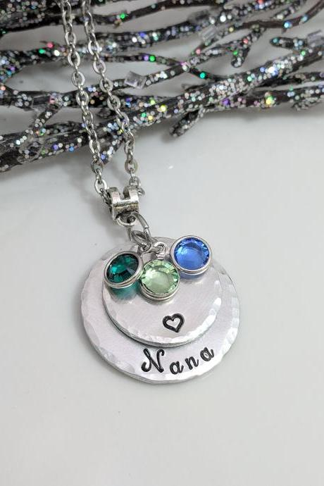 Hand Stamped Birthstone Necklace-Nana-Grandma-Mom-Grandchildren Hand Stamped Jewelry-Gift from Children-Birthday-Customized-Layered Necklace-Handmade