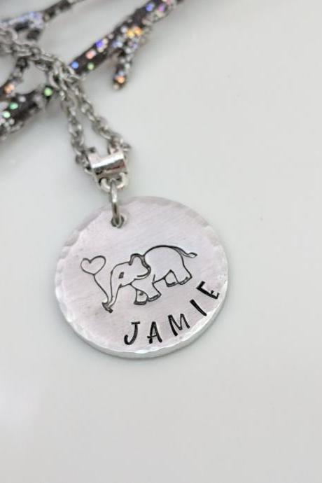 Personalized Elephant Hand Stamped Necklace-Name Jewelry-Best Friends Gift-Birthday Gift-Elephant Lover-Handmade Necklace-Gift for Her-Elephant Gifts