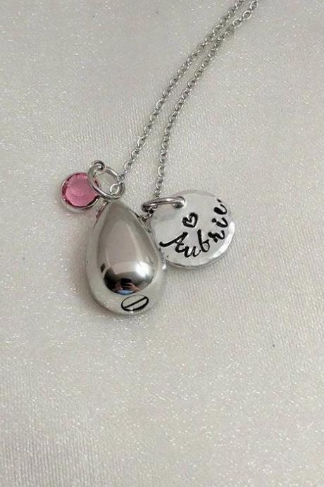 Hand Stamped Necklace Urns for Ashes - Ash Jewelry - Necklace for Ashes - Personalized - Hand Stamped - Memorial Keepsake - Sympathy Gift - Small Teardrop Urn