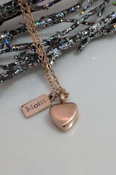 Hand Stamped Necklace Rose Gold- Heart Urn- Loss of Mom Hand Stamped Jewelry- Urn for Ashes- Cremation Urn- Heart Urn Gift- Rose Gold Urn- Loss of Mom Gift- Ashes Holder- Grief Gift