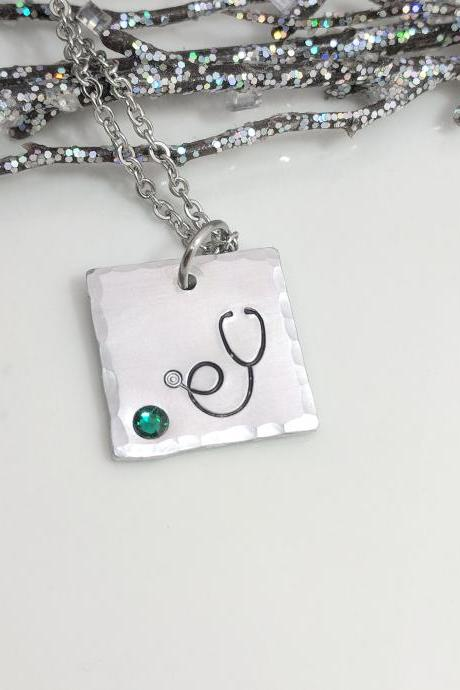 Nurse Jewelry - RN Gift - Stethoscope Necklace - Birthstone Jewelry - CNA - Nurse Graduation - Nursing School - Doctor Gift -Medical Student