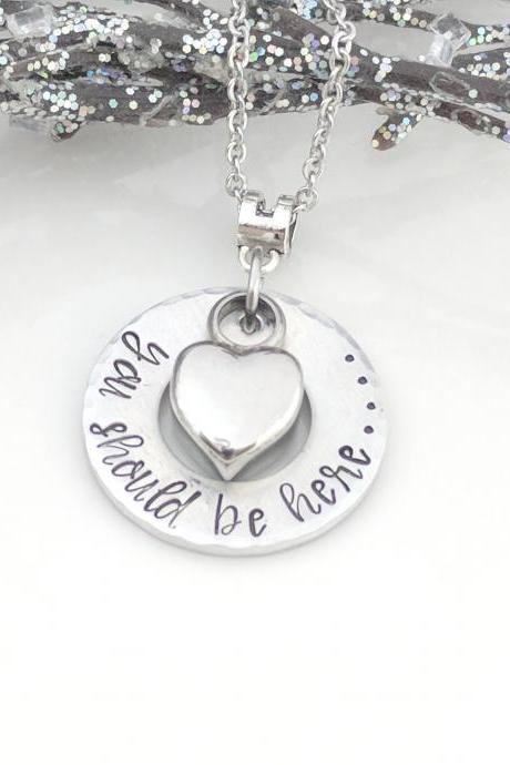 Urn Hand Stamped Necklace - Ash Urn Locket Jewelry- You Should Be Here - Memorial Keepsake Urn - Remembrance Keepsake - Loss Urn Necklace - Cremation Necklace