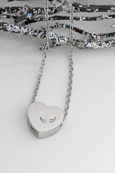 Hand Stamped Silver Heart Necklace - Heart Urn - Angel Wings - Cremation Jewelry - Ashes Necklace - Urn for Ashes - Remembrance - Keepsake - Memorial - Loss Gift