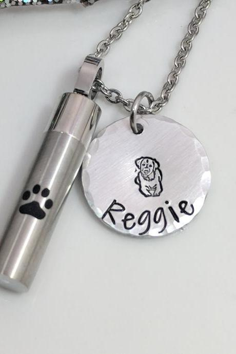 Dog Loss Urn- Labrador Retriever Loss- Customized Dog Loss Urn- Dog Mom Keepsake- Pet Loss Necklace- Paw Urn Vial- Memorial Keepsake- Gift