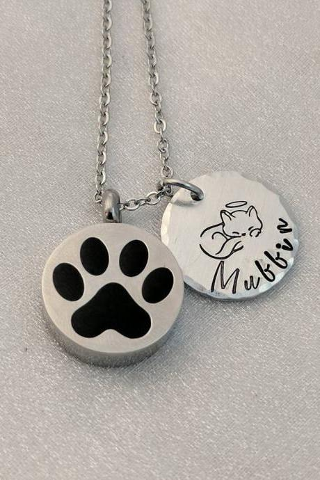 Pet Memorial Hand Stamped Necklace- Loss of Pet Urn Hand Stamped Jewelry - Pet Loss Keepsake - Customized Pet Loss Necklace - Cat Remembrance - Loss of Cat Urn Necklace - Ash Holder