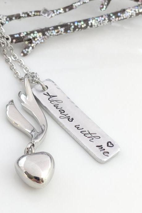 Always With Me-Memorial Urn-Ashes Locket-Heart Urn-Memorial Keepsake-Ashes Jewelry-Cremation Necklace-Urn Necklace-Loss of Mom-Urn for Ashes