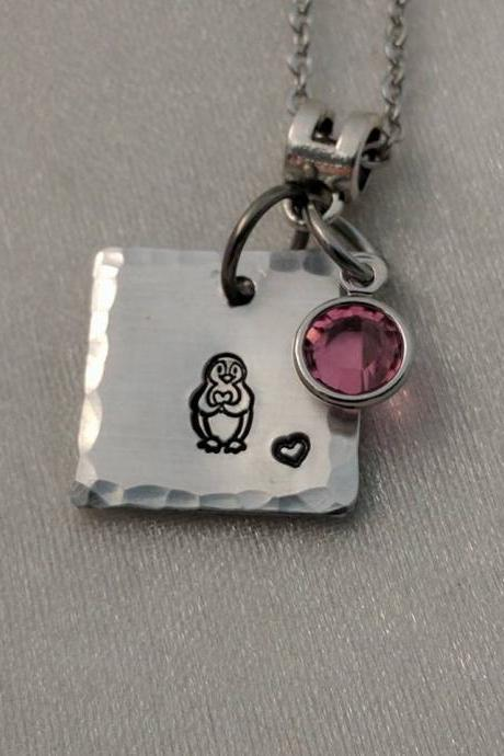 Penguin Hand Stamped Necklace - Birthstone Hand Stamped Jewelry - Gift for Teen - Gift for Girl - Bridesmaid Gift - Cute Gift Ideas for Girls - Handmade Gifts