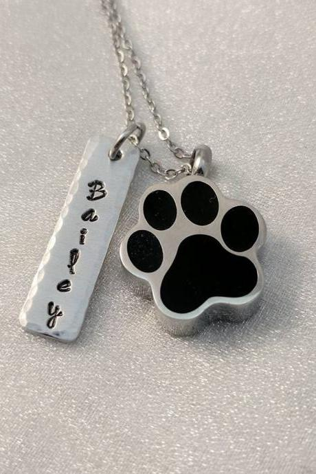 Pet Loss Memorial - Urn for Pet Ashes - Cremation Jewelry - Loss of Dog - Loss of Pet - Pet Memorial Keepsake - Customized Pet Name Jewelry