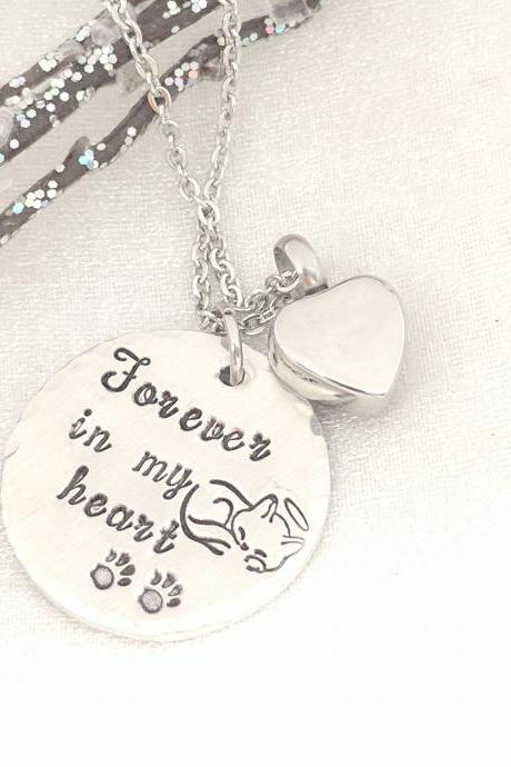 Forever in my Heart Hand Stamped Necklace - Loss of Cat Hand Stamped Jewelry - Pet Remembrance Necklace - Sympathy Gift - Pet Urn Necklace - Heart Urn - Pet Memorial Jewelry