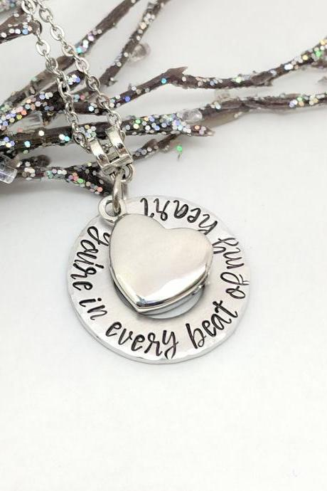 Urn for Ashes Hand Stamped Necklace-Memorial Urn Keepsake Hand Stamped Jewelry-Urn Necklace-Heart Urn-Ash Holder Jewelry-Sympathy Gift-Beat of My Heart-Grief Gift-Loss Gifts