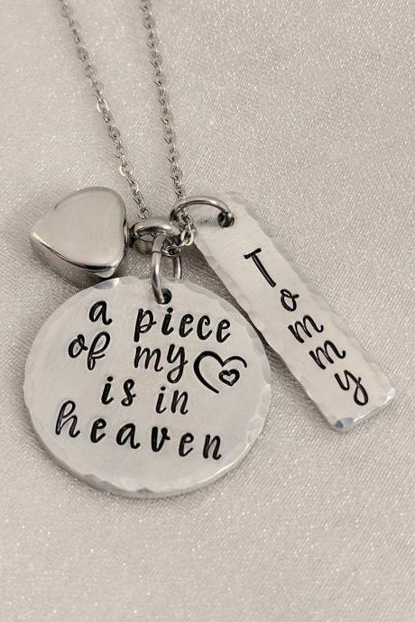 urn Hand Stamped Necklace-cremation jewelry-ashes necklace-a piece of my heart is in heaven-urn jewelry-cremation necklace-personalized urn-heart urn