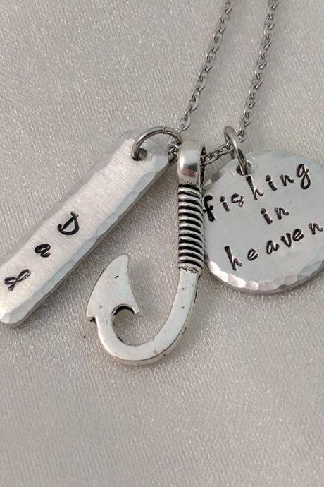 Fishing in Heaven Hand Stamped Necklace - Memorial Necklace - Personalized Memorial Keepsake - Loss Necklace - Fishing Hook Memorial - Sympathy Gift