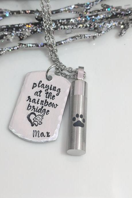 Pet Loss- Urn Hand Stamped Jewelry- Pet Ash Hand Stamped Necklace- Paw Print Jewelry- Loss of Dog- Pet Cremation Necklace- Rainbow Bridge- Gift for Pet Loss- Grief