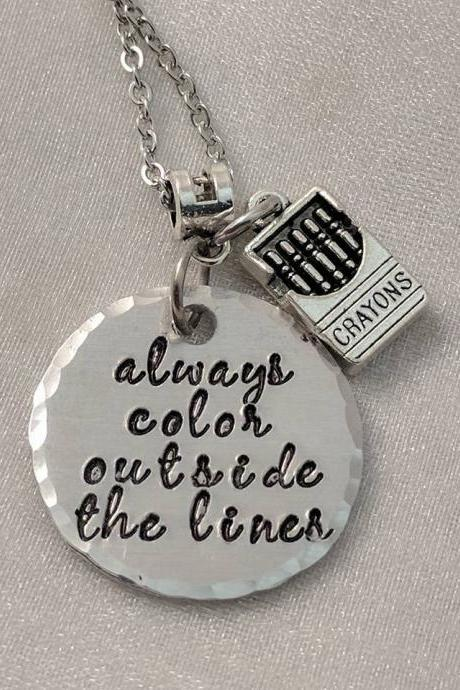 Hand Stamped Necklace Always Color Outside The Lines Inspirational Hand Stamped Jewelry-Message Necklace-Quote Jewelry-Handmade Jewelry-Saying Necklace-Crayons-Word Jewelry