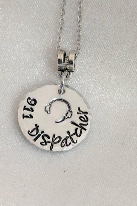 Hand Stamped Necklace 911 Dispatcher - 911 Dispatch Gift - Police Dispatcher Gift - Dispatcher Necklace - 911 Professional Gift - 911 Jewelry - Telecommunications